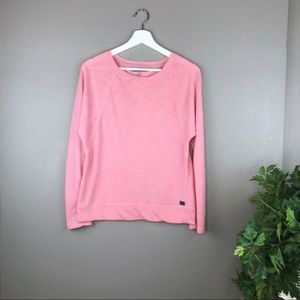 Tommy Hilfiger Pink Button Tab Crewneck Sweater